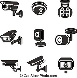 surveillance, appareils-photo vidéo, ensemble, icône, pictograms, graphique, sécurité