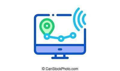 surveillance, wi-fi, voix, sans fil, animation, icône, contrôle