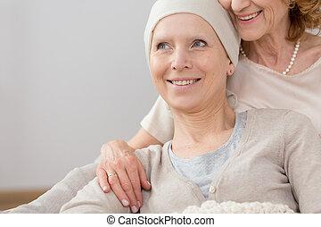 survivant, embrasser, cancer, mensonge