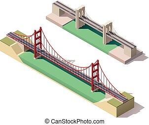 suspension, isométrique, vecteur, pont