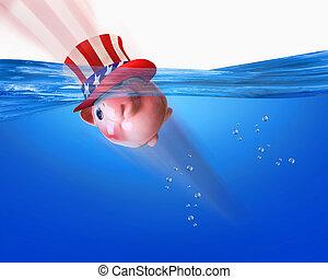 swimming., américain, banque, porcin