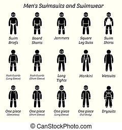 swimwear., hommes, swimsuits