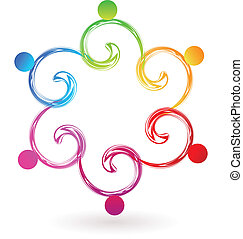 swirly, logo, vecteur, collaboration, swoosh