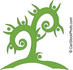 swirly, vert, collaboration, arbre, logo