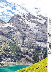 switzerland., alps., montagnes, turquoise, suisse, été, rocks., suisse, kandersteg, populaire, attraction, lac, surprenant, saison, oeschinensee, escarpé, touriste, entouré