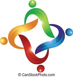 swoosh, logo, vecteur, collaboration, gens
