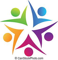 swooshes, collaboration, étoile, logo