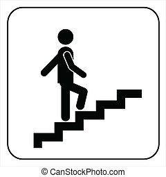 symbole, aller, escaliers haut, homme