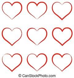 symbole, amour, vecteur, intimité, calligraphie, dessiner, valentines, rouges, ensemble, amitié, coeur, coeur, main, jour, concept, contour