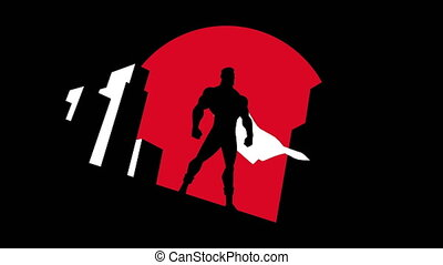 symbole, animation, superhero, fond