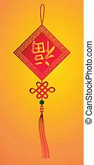 symbole, année, bonheur, chinois, nouveau