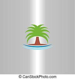 symbole, arbre, vecteur, paume, logo, icône