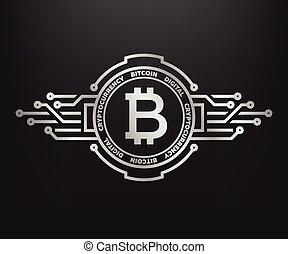 symbole, argent., résumé, internet, bitcoin, argent