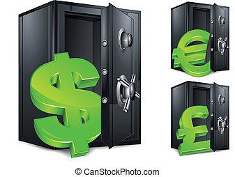 symbole argent, sûr, banque