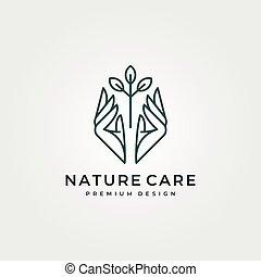 symbole, art, conception, nature, vecteur, soin, illustration, ligne, arbre, logo, main, conception