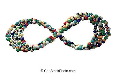 symbole, balles, infinité, coloré