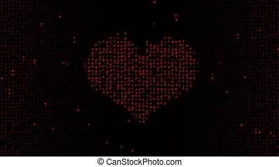 symbole, binaire, écran, code, coeur, résumé, formes