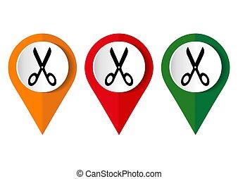 symbole, blanc, isolé, fond, ciseaux