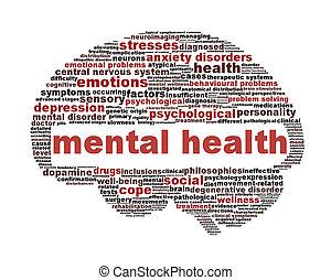symbole, blanc, santé, mental, isolé