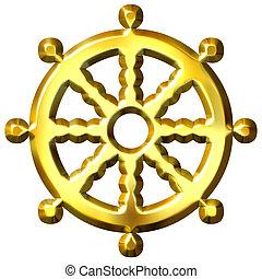 symbole, bouddhisme, doré, dharma, 3d, roue