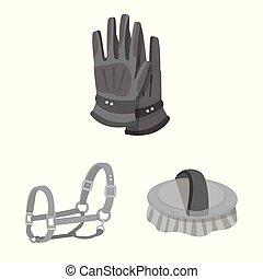 symbole, cheval, symbole., course, vecteur, illustration, stockage, courses, web., collection