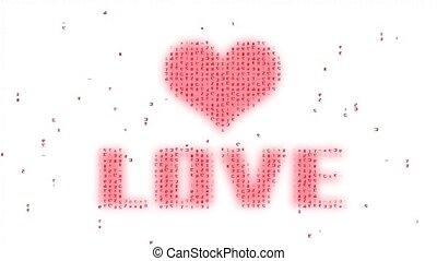 symbole, coeur, mot, code binaire, extrait amour