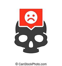 symbole, coloré, parole, triste, os, crâne, crâne, icon., tête, figure, structure, bulle