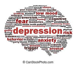symbole, concept, isolé, dépression, blanc