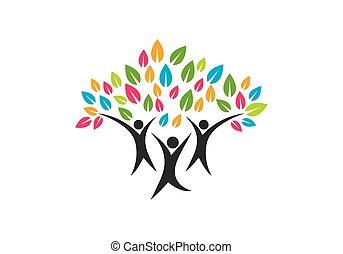 symbole, conception, logo, arbre, famille, icône