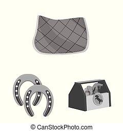 symbole, course chevaux, vecteur, illustration, stockage, courses, web., collection, icon.