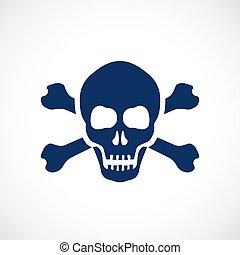 symbole, crâne humain, danger
