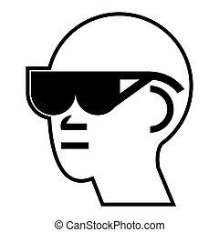 symbole, décoller, s'il vous plaît, enlever, lunettes