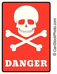 symbole, danger, crâne, avertissement, mort