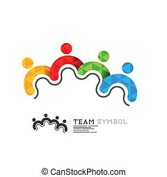 symbole, direction, connecté, équipe