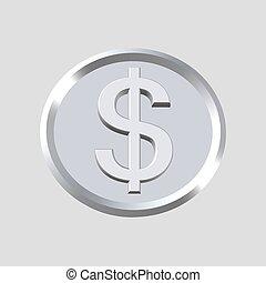 symbole, dollar, icône