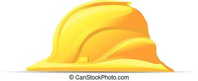 symbole, dur, jaune, vecteur, sécurité, chapeau, icône