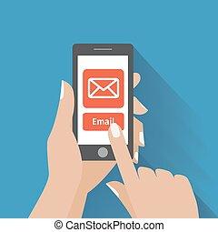 symbole, email, téléphone, main émouvante, écran, intelligent