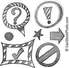 symbole, ensemble, croquis, signe