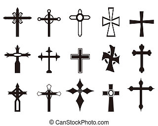symbole, ensemble, religieux, croix