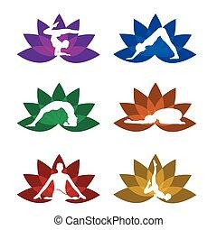 symbole, ensemble, yoga, méditation