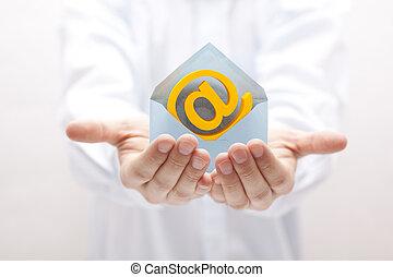 symbole, enveloppe, email, mains