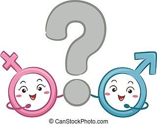 symbole femelle, question, mascotte, mâle, marque