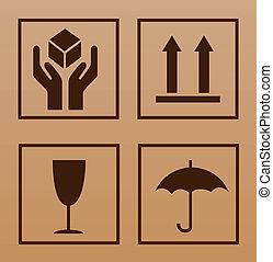 symbole, fragile, carton