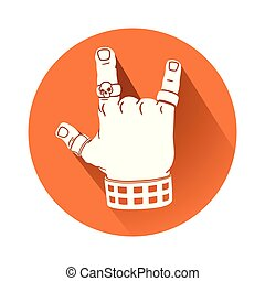 symbole, geste main, rocher