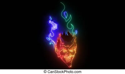 symbole., halloween, mal, vidéo, brûlé