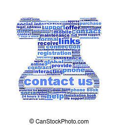 symbole, isolé, nous, contact, conception, blanc