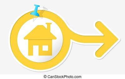symbole, jaune, flèche, maison, blanc, cadre