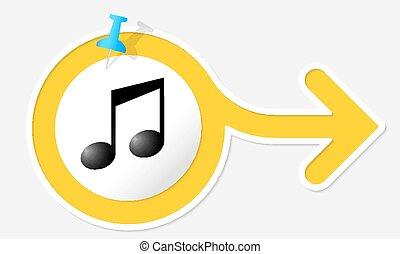 symbole, jaune, musique, flèche, blanc, cadre