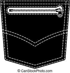 symbole, jean, poche, vecteur, noir, fermeture éclair