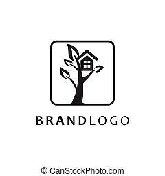 symbole, maison arbre, vecteur, logo